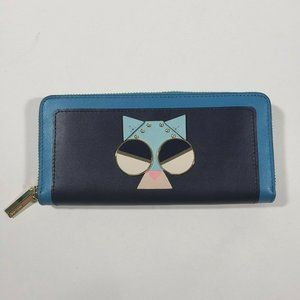 KATE SPADE blue smitten kitten spademals wallet